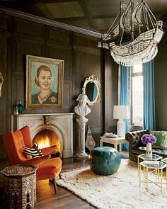 Nanette Lepore's living room Nanette Lepore, Apartment Sofa, Apartment Interior, Apartment Therapy, New York Homes, New Homes, Formal Living Rooms, Living Room Modern, Home Living Room