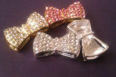 10pcs Silver Side Ways Crystal Rhinestones Pave Bow Tie Bracelet Connector Bead Rhinestone Ribbon. $24.90, via Etsy.