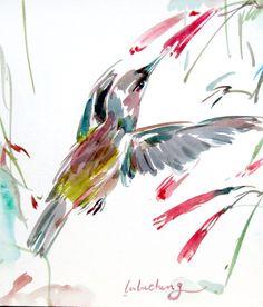Hummingbird paining,Original bird painting,Red, Bird art, brush painting, Bird art, Garden art,Wall art, Spring bird,watercolour bird, Asian by Yimoartstudio on Etsy