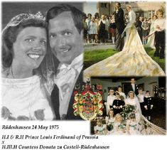 Kaiser Wilhelm's great grandson, Prince Louis Ferdinand, married Countess Donata zu Castell-Rudenhausen on 24 May 1975, she's wearing a tiara from her side of the family. They're the parents of Prince Georg, who married Sophie Isenburg in 2011, see next pin.