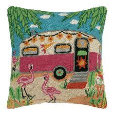 Flamingo Caravan Hook Pillow: Beach Decor, Coastal Decor, Nautical Decor, Tropical Decor, Luxury Beach Cottage Decor