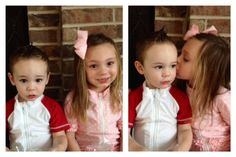 Cute boy and girl in SwimZip swimsuits giving kiss.  Adorable!