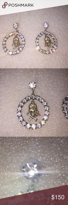 Betsey Johnson earrings Selling to buy Betsey pieces I need. This is from the nautical collection. The top has a large rhinestone. The circle is encrusted with large rhinestones and the center has a skull with rose. Rare Nwot Betsey Johnson Jewelry Earrings