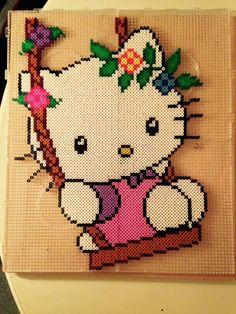 Hello Kitty in a Swing - Perler Beads