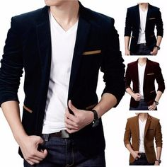 British Suits Coat Men's Korean Casual Slim Fit Single Button Turndown Collar Suit Jacket