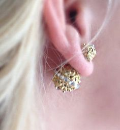 Mise en Gold Filigree Tribal Swarovski Element Crystal Double Stud Earrings OOAK