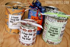 Fathers Day Tin Can Treats - Filled with sweets and snacks! #FathersDay