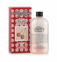 Philosophy Have A Cherry Christmas Gel, 16 Ounce by Philosophy. $32.37. Feel cherry cheerful and merry. Leaves skin and hair feeling ultra soft. Give holiday greetings. Have a cherry christmas, and wish others a cherry christmas too. Have a cherry christmas white cherry shampoo, shower gel and bubble bath inspires you to feel cherry and bright as the moisturizing formula gently cleanses and conditions skin and hair. The cherry-luscious scent provides a jolly good time. It c...