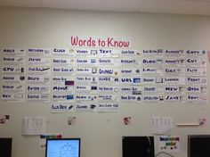 Computer Lab Word Wall compare words with current list Computer Lab Decor, Computer Literacy, Computer Teacher, Teaching Computers, School Computers, Computer Lessons, Computer Class, Technology Lessons, Teaching Technology