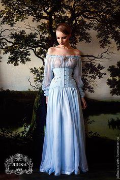 """Купить Корсет, юбка и блузка """"Версаль 2"""" - голубой, версаль, ручная вышивка, шелк, корсет"""