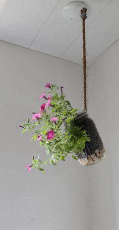Hanging Mason Jar Planter with drainage. Could DIY.