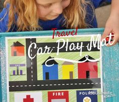 Housewife Eclectic: Travel Car Play Mat with free printable.