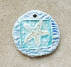 by Sheri Mallery Starfish Beach Ceramic Pendant in Bahama Aqua Blues by SlinginMud, $10.00
