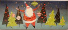 #1797 60s Mid Century Santa-Trees-Ornaments-Vintage Christmas Card-Greeting