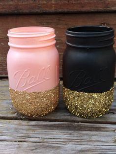 2 pc Glitter Mason Jar Set - Perfect for Makeup Brushes, Toothbrush, Pens, Wedding Centerpiece, Baby Shower, Bridal Shower, Pink Gold Black