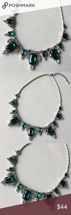✨Emerald + Diamond Silver Statement Necklace✨ ✨Emerald + Diamond Silver Statement Necklace✨Gorgeous emerald green + diamond glass gems✨Silver setting + silver adjustable length chain✨Classic elegance✨ ✨Brand new boutique beauty!✨ Jewelry Necklaces