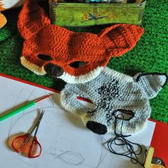 crochet fox and wolf mask