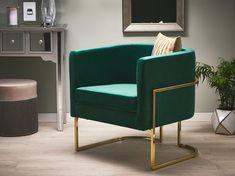 Deze fauteuil heeft een brede en diepe zitting. Waarbij de zitting uiterst comfortabel is. Deze fauteuil is makkelijk in onderhoud. Met dit moderne design past het in ieder interieur. Green Accent Chair, Velvet Accent Chair, Accent Chairs, Grey Armchair, Velvet Armchair, Seat Foam, Green Velvet, Tub Chair, Vanity Desk
