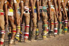 Multi Colours and Geometric patterns of the Yawalapiti tribe of Xingu during a ritual. Xingu National Park, Mato Grosso - Brazil - 2013 Photo taken by award win