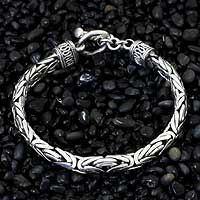 Men's sterling silver braided bracelet, 'Silver Dragon'