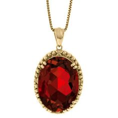 Large Oval Garnet Gemstone Diamond Pendant In Yellow Gold Available Exclusively at Gemologica.com