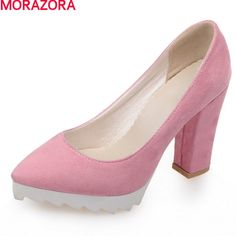 28999ff70aaf MORAZORA 2017 new arrival fashion women pumps thick high heels pointed toe  solid black platform sexy