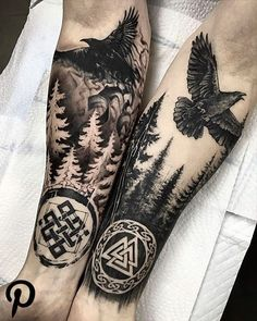 Huginn and Muninn Ravens from Norse mythology .- ✖️Huginn and Muninn✖️ Ravens from Norse mythology ✖️Huginn and Muninn✖️ Ravens from Norse mythology Norse Mythology Tattoo, Norse Tattoo, Celtic Tattoos, Viking Tattoos, Viking Rune Tattoo, Buddha Tattoos, Body Art Tattoos, Tribal Tattoos, Symbolic Tattoos
