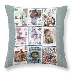 "Old British Postage Stamps Throw Pillow (14"" x 14"") by Jan Bickerton.  Our throw pillows are made from 100% cotton fabric and add a stylish statement to any room.  Pillows are available in sizes from 14"" x 14"" up to 26"" x 26"".  Each pillow is printed on both sides (same image) and includes a concealed zipper and removable insert (if selected) for easy cleaning."
