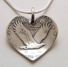 silver quarter, recycl silver, festivals, vintag silver, coins art, american made, heart pendant, vintage silver, crafts