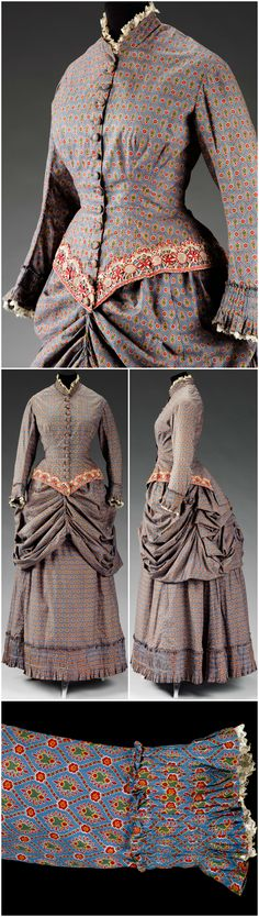 Walking dress, consisting of a jacket bodice, bustle and skirt, printed cotton of floral and diaper design on a blue ground, made in Great Britain, c. 1883. © Victoria and Albert Museum, London. CLICK THROUGH FOR LARGER, HI-RES IMAGES.
