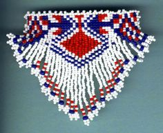 Red white blue barrette made from seed beads