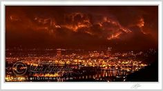 Red sky at night over Portland, Oregon