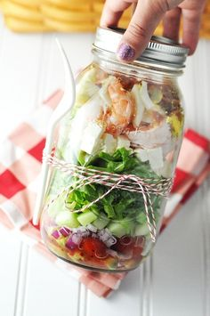 Shrimp  Feta Cobb Salad: A Healthier Salad In A Jar
