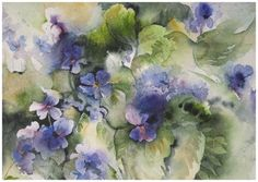 """Violets"" watercolour painting 