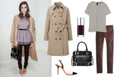Uniqlo Long Trench Coat, $89.90, available at Uniqlo; Zara Checked Top, $69.90, available at Zara; J.Crew Collection Leather Leggings, $625, available at J.Crew; Clinique Nail Enamel in Black Honey, $12.50, available at Sephora; Sophia Webster Daria Leopard Heel, $395, available at Kirna Zabête; alice + olivia Olivia Embossed Satchel, $495, available at Shopbop