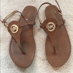 a539ec03792a Michael Kors Shoes | Michael Kors Camel Sandals | Color: Brown/Gold | Size:  7