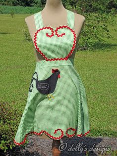 green gingham apron with rickrack