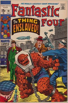 Fantastic Four The Thing enslaved and forced to fight gladiatorial games on a Skrull planet modeling itself on gangsters. Written by Stan Lee (awith probable assistance from Jack Kirby) and art by Kirby with Joe Sinnott, Dc Comics, Marvel Comics Superheroes, Marvel Comic Books, Comic Books Art, Comic Art, Marvel Heroes, Jack Kirby, Univers Marvel, Stan Lee