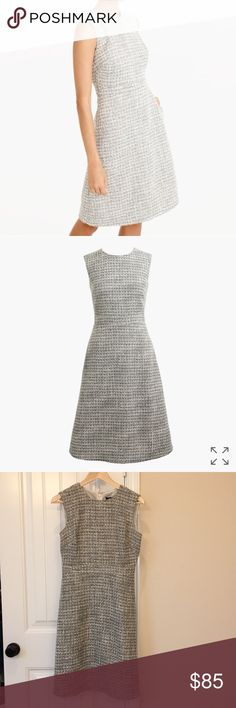 NWT J. Crew A-Line Shimmer Tweed Dress, Size 2 NWT from J. Crew retail. Product description: A feminine A-line dress (with pockets!) in a subtle shimmery tweed that looks just as good after work as it does at work.  Wool/poly/acrylic/nylon/silk. Back zip. On-seam pockets. Lined. Dry clean. Item F8529. J. Crew Dresses