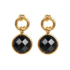 Knot Drop Earrings with Black Onyx | 18ct Gold Vermeil | Davina Combe