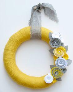 "18"" Yellow yarn wreath with gray and white felt flowers - The Stephanie. $54.00, via Etsy."