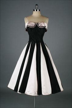 1950s pink black satin dress