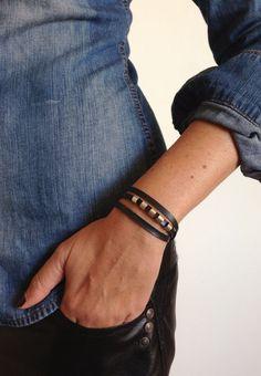 Warp black and silver bracelet/ vegan bracelet/ by KerenMekler