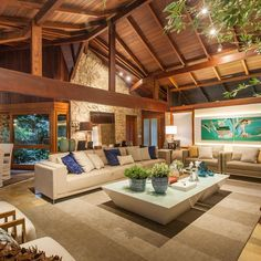Dog spaces in house Dream house ideas Tropical House Design, Tropical Houses, Bali Style Home, Cabins And Cottages, Decoration Design, House In The Woods, Log Homes, Interior Design Living Room, Future House