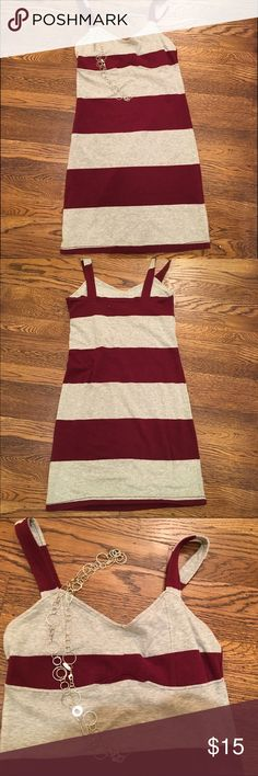 Striped gray/ burgundy dress by Aeropostale Stretchy striped casual dress, size small.  It'll show off your curves! Aeropostale Dresses Midi