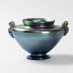 Louis Comfort Tiffany Favrile Glass | Blue Favrile Glass Vase by Louis Comfort ... | Tiffany Favrile at M...