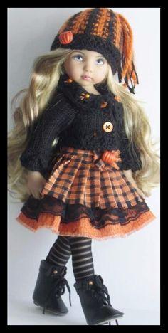 Handknit sweater and skirt set made for Effner little darling dolls