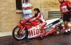Real life badass chick, Angelle Sampey. Three time NHRA Pro/Stock Bike world champion.