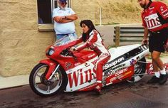 Real life badass chick, Angelle Sampey. Three time NHRA Pro/Stock Bike world champion.