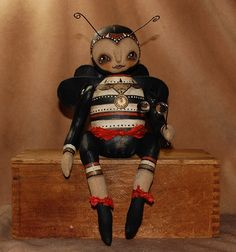 Outside the Box Primitives: TIC TOC BUMBLE STEAMPUNK~primitive doll bumble bee in steampunkSOLD!